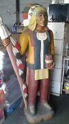 Unique American Cigar Indian Wood Carved Statue 5+ Feet Tall In Great Condition