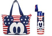 New Set - Mickey Mouse Americana Foldable Tote Bag With Matching Water Bottle