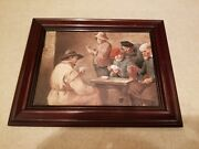 Fine Rpm Germany Hand Painted Porcelain Plaque 5 Men Playing Cards Framed 7972