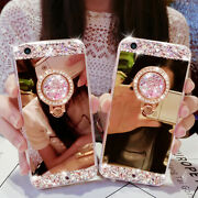Glitter Bling Diamond Mirror Stand Case Girl Cover For Samsung Galaxy Phones