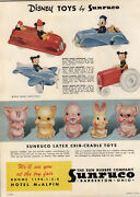 1948 Paper Ad 2 Sided Sun Rubber Toy Co Sunruco Disney Tractor Car Plane Doll