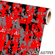 Digital Red Camouflage Vinyl Car Wrap Film Sheet + Free Tools 2 Feet And Up