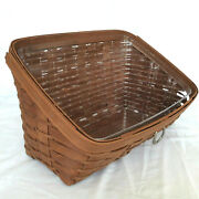 Longaberger Large Desktop Basket And Protector Rich Brown Sort And Store New