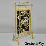 Victorian Aesthetic Movement Gold Gilt Wood Faux Bamboo Fire Screen Silk Fabric