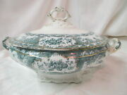 1890and039s Blue Green Transfer Wedgwood Phoebe Soup Tureen W/ Lid Gold Accents Trim