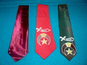 Hand Painted Vintage Shriners Neck Tie Lot @ 1950s Masonic Lodge New York