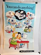 Vintage Lot Of Ibm Computers Education Poster And Storage Container 80s