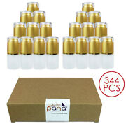 344pcs Pana 20ml Refillable Fine Mist Spray Frosted Glass Bottle With Gold Cap