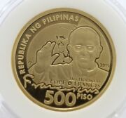 Pope Philippines Gold Gold Plated Coin 500 Peso Pope Francis