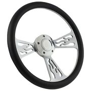 Flame Steering Wheel 14 Inch Aluminum With Black Wrap And Chevy Installation ...
