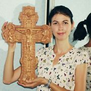 Jesus On The Cross Id2 Wood Orthodox Religious Carved Crucifix 18x11.25