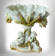 Vintage Moore Bros. English Art Compote With Cherubs And Gold Decorations - 1880