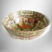 Chinese Antique Export Rose Medallion Large Bowl With Hp Scenes