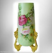 William Guerin Limoges Tall Vase Hp Roses - Gold Feet Ca 1900