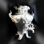 Large Vintage Silver Plate Hot Water Urn With Decorative Finial