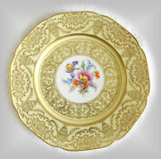 Tirschenreuth Set Of 12 Floral And Heavy Gold Decorated Plates