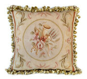 Aubusson Throw Pillow Cover   Music Instrument Hand-woven French Cushion 18x18