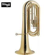 New Stagg Ws-bt235 Professional Bbb Clear Lacquer Tuba With Case And Mouthpiece