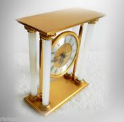 Neiman Marcus Gold Plated Clock With Opalescent Glass - French