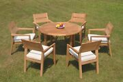 A-grade Teak 7pc Dining 48 Round Table 6 Vellore Stacking Arm Chair Set Outdoor