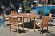 A-grade Teak 7pc Dining 72 Round Table 6 Leveb Stacking Arm Chair Set Outdoor