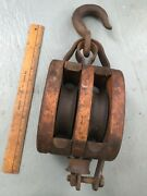 """Antique Large Vintage Wood Metal Double Pulley And Hook Rustic Decorative Hang 14"""""""