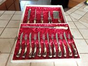 1960 Antique German Stainlessandcarved Stag Handles Cutlery And Meat Carving Set