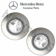 For Mercedes C216 W221 Set Of 2 Front Vented Cross Drilled Brake Rotors Genuine