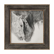 Rustic Large Vintage Style Horse Print   Black White Wood Frame Wall Art Ranch
