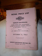 Harley Davidson Retail Price List Spare Parts And Accessories Oct 15 , 1963
