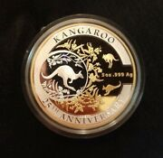 2018 10 Australian Kangaroo 5 Oz Silver Frosted Proof Selectively Gold Plated
