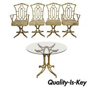 Metal Faux Bamboo Chinese Chippendale 5 Pc Dining Set 4 Chairs Round Glass Table