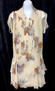 Dress Beige Multicolored Floral Drop Waist Ruffle Silk Sleeveless Size 34
