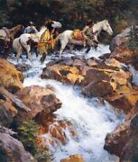 Howard Terpning - White Water Passage - Limited Edition Gicleeandnbspcanvas Ap