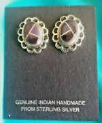 Zuni Inlay Sugilite Silver Post Earrings Native American Collectible Usa