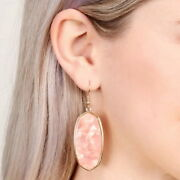 Gold Frame Abalone Shell Oval Hook Earrings For Women Dangling Boutique Jewelry