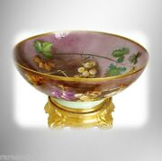 Limoges Vintage B And H Large Hand Painted Punchbowl - With Stand - Circa 1900