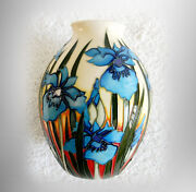 Moorcroft Vase With Blue Iris Flowers And Pale Yellow Color - Marked
