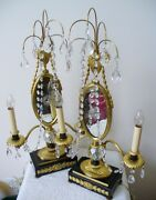 Pair Of French Mantel Lamps - Gilt And Crystal Prisms