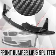 Real Carbon Fiber Front Bumper Lip With Splitter 3pc For 15-17 F80 M3 M4 F82