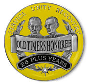 25 Years Plus And039old Timersand039 Honoree Yellow And Silver Aa/recovery Coin/ Medallion