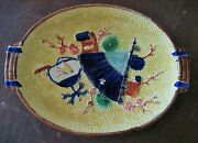 Antique Majolica English Platter Trayfan Center C. 1880s S. Fielding And Co.