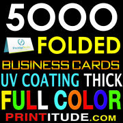 5000 Full Color Folded 2 Sided Business Card 14pt Uv Coated Glossy Free Design