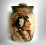 Rick Wisecarver Large Cookie Jar With Indian Chief Portrait