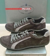 Prada Milano Designer Menand039s Dark Gray Suede Leather Sneakers Shoes Size 12