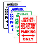 World's Greatest Secretary Parking Only Wall Gift Aluminum Novelty Metal Sign
