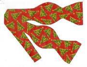 Christmas Bow Tie / Decorated Christmas Trees Tossed On Red / Self-tie Bow Tie