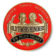 25 Years Plus And039old Timersand039 Honoree Red And Gold Aa/recovery Coin/ Medallion