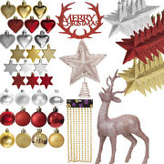 Gold Red Collection Christmas Decorations Baubles Stars Cones Hearts Tree Topper