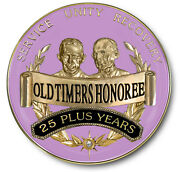 25 Years Plus And039old Timersand039 Honoree Plum And Gold Aa/recovery Coin/ Medallion